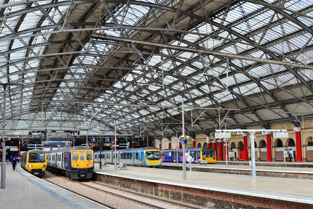 Trains inside Lime Street station