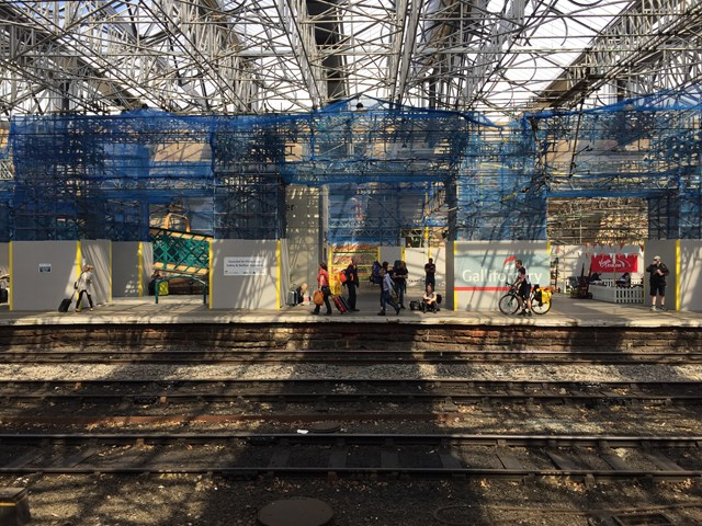 Light begins to stream into Carlisle station as the new roof is unveiled and the scaffolding removed