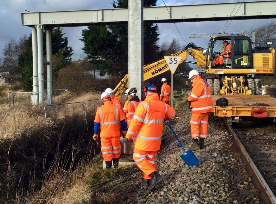 Preston to Blackpool railway reopens on Sundays after vital improvement work: Blackpool drainage renewal Sunday 13 January drainage headwall