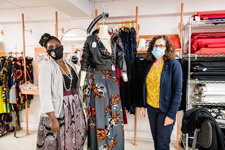 Designer-maker Marie Ikong Ehuy and Cllr Asima Shaikh in the FC Designer Collective store