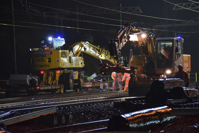 Acton Wells - Rail Road Vehicle (RRV) by night: Christmas 2015, engineering, IP Track. high speed handback, rail road vehicle