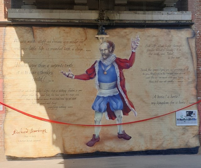 Network Rail and celebrated street artist team up to mark the 400-year anniversary of famed Shakespearean actor Richard Burbage: Richard Burbage Mural 1
