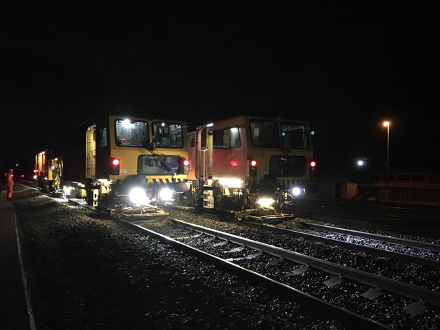 Track tamping at Carnforth station on the West Coast main line