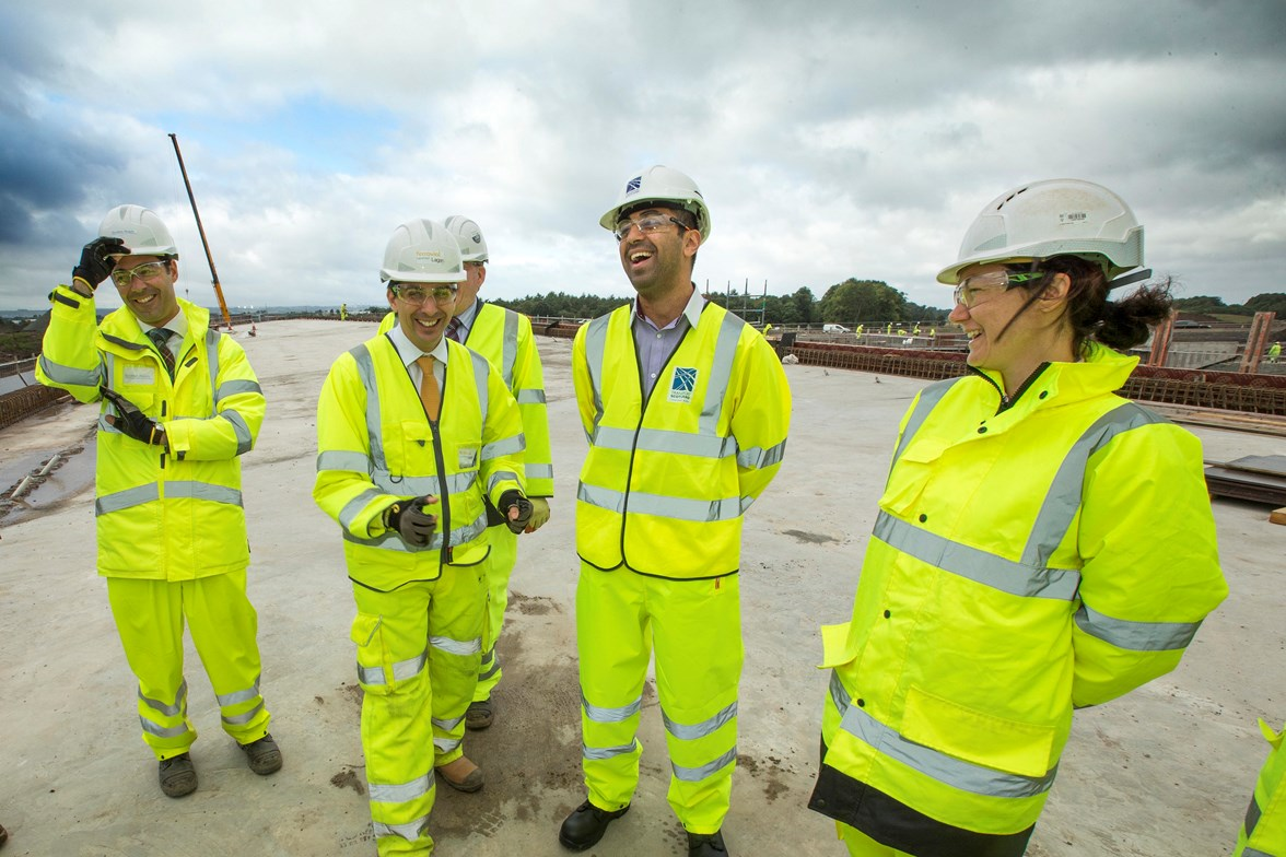 Humza Yousaf meets construction staff on M87374 site