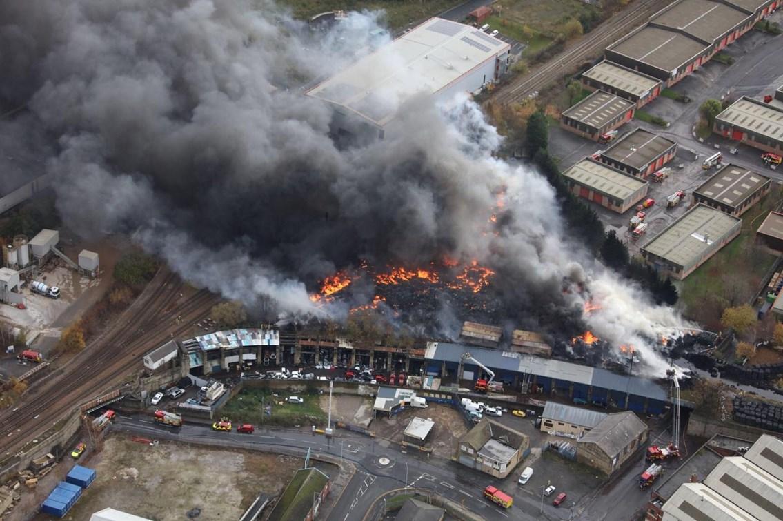 Fire near Bradford Interchange, Photo credit - Network Rail Air Operations