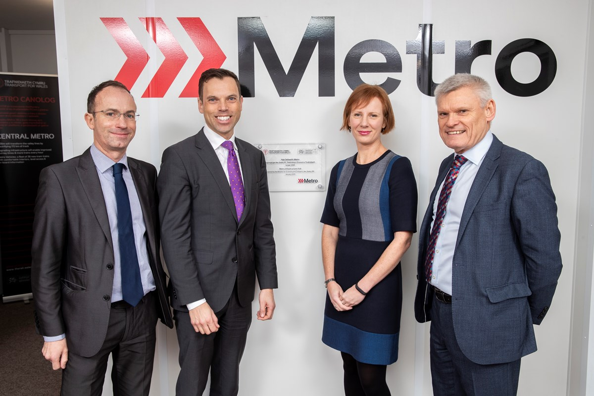 Ken Skates and team with Metro Infrastructure Hub plaque