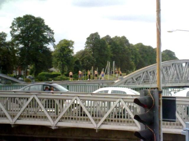 Members of the public trespassing on Boston Grand Sluice Bridge, Lincolnshire