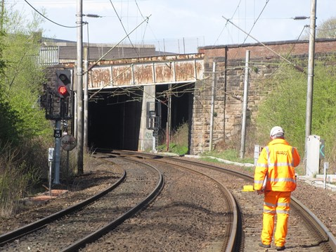 Inspecting new signalling as part of Motherwell North Signalling Renewal