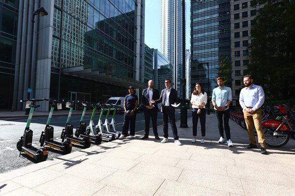 TfL Press Release -  London's trial of rental e-scooters begins: TfL - Georgia Yexley (TIER), Mayor Philip Glanville (London Councils), Will Norman (London's Walking and Cycling Commissioner), Helen Sharp (TfL), Alan Clarke (Lime), Duncan Robertson (Dott)