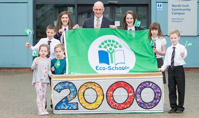 2000th Green Flag: Deputy First Minister John Swinney celebrates Scotland's 2000th Green Flag for Eco-Schools with pupils from St Johns RC Academy in Perth. (from left to right: Aylish Watson, Matt Coper, Stac Zawistowski, Louise Ford, Mr Swinney MSP, Briony Hodge, Megan Campbell and James Finnon.