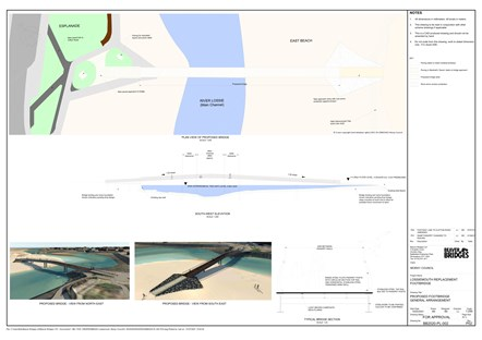 Proposed Lossie Bridge drawing: Photo shows the proposed scale, shape and artist impression of the new Lossiemouth East Beach bridge.