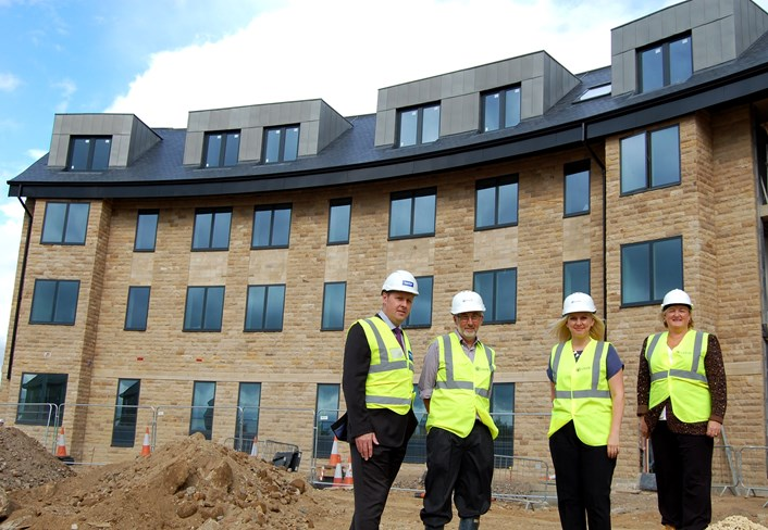 Progress revealed on flagship extra care scheme: tonyshawcllrrlewiscllrrcharlwoodcllrdcouparatwharfedaleview.jpg