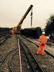 Lewisham derailment latest: The crane lifts the final wagon back upright