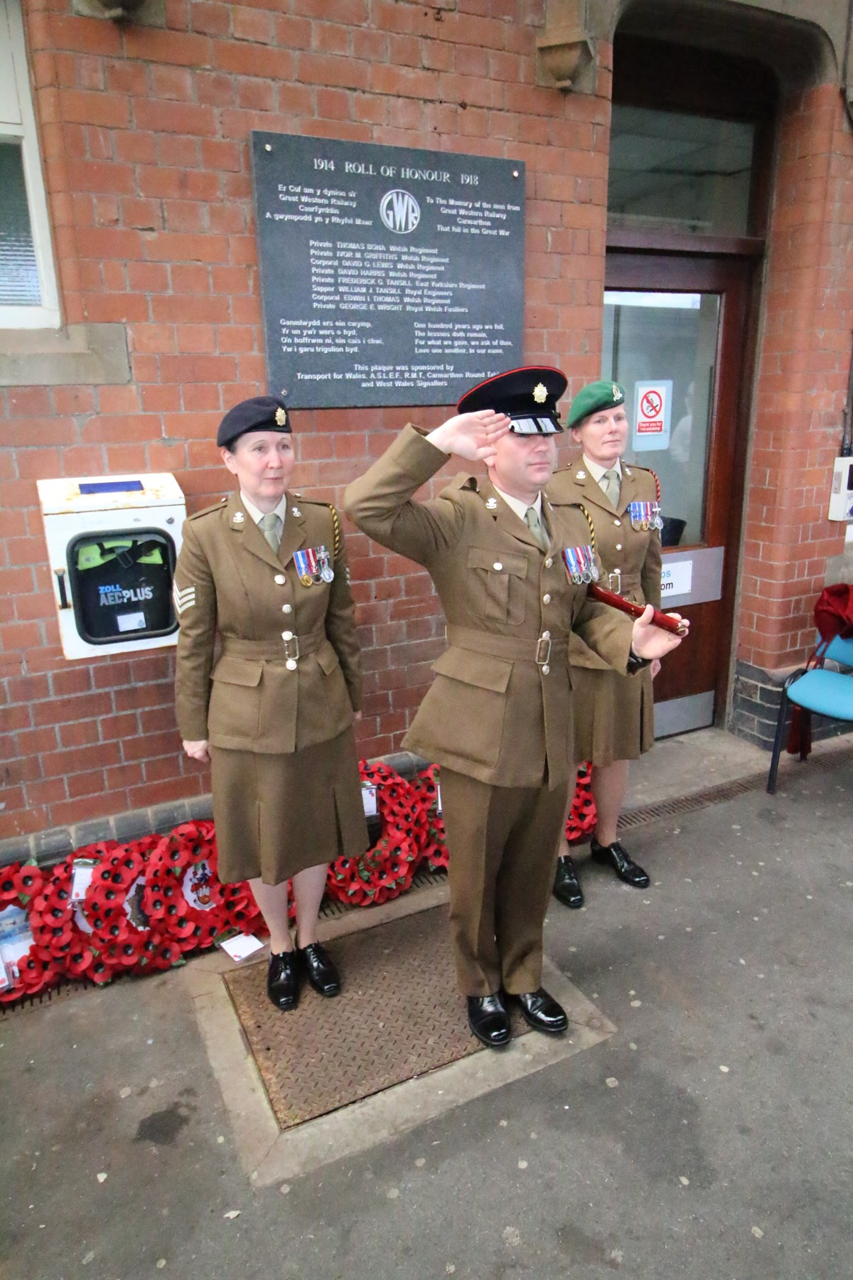 Salute at Carmarthen station plaque