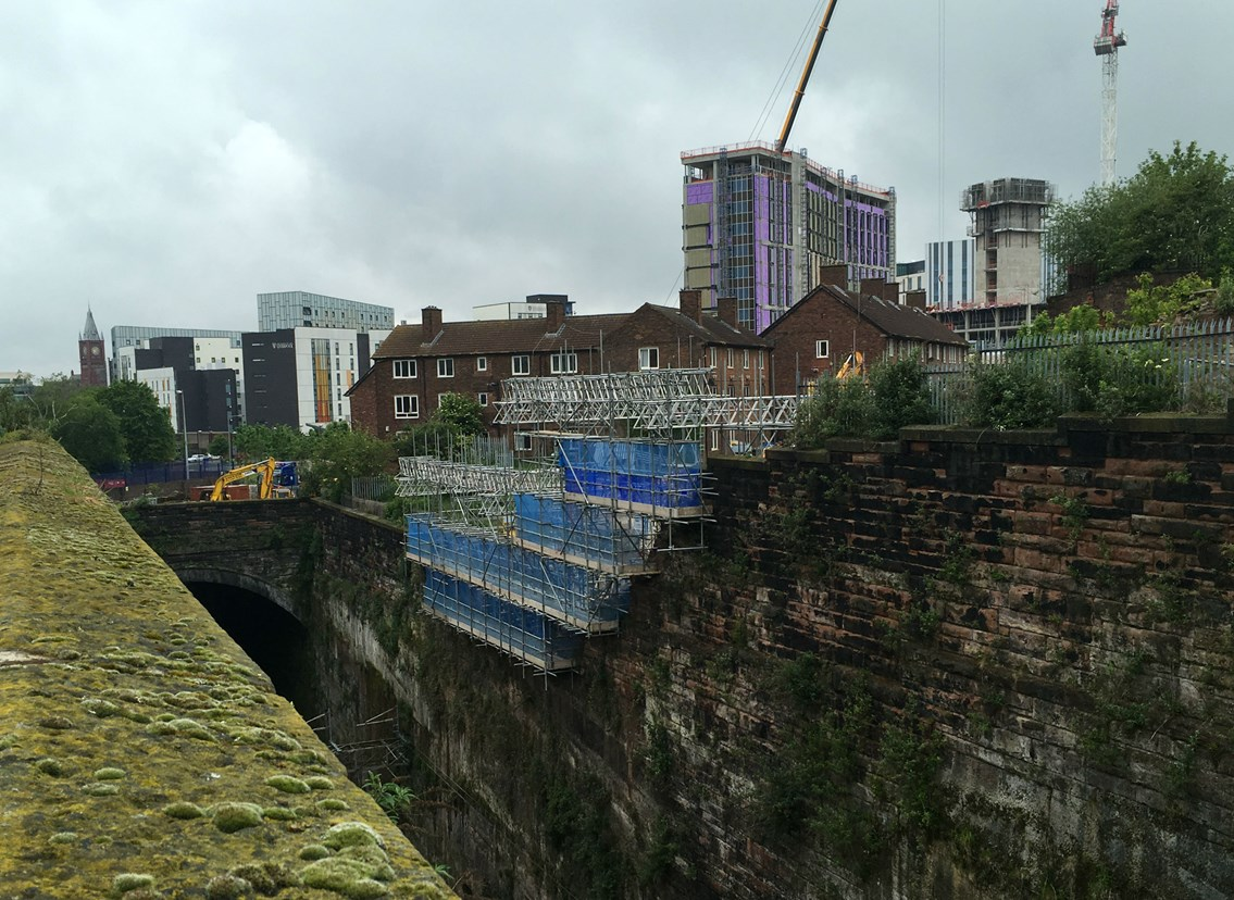 Wide view of the wall repair at Liverpool Lime Street
