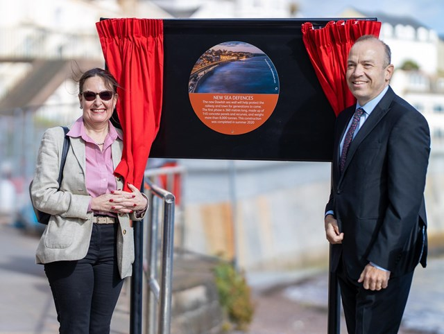 Anne Marie Morris, Member of Parliament for Newton Abbot and Rail Minister Chris Heaton-Harris MP at the first section of the new Dawlish sea wall