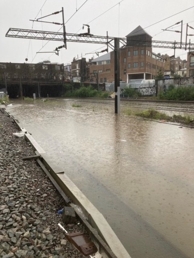 All tracks flooded on West Coast main line approach to Euston July 12 2021