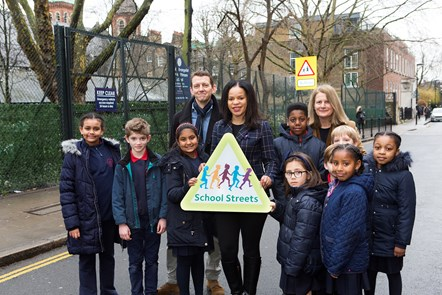 Islington's first School Street aims to bring cleaner air and improved road safety: School Street1 - Pupils and staff at St John Evangelist Catholic Primary School, which has Islington's first School Street, with Cllr Claudia Webbe.  Picture taken at start of consultation in March 2018