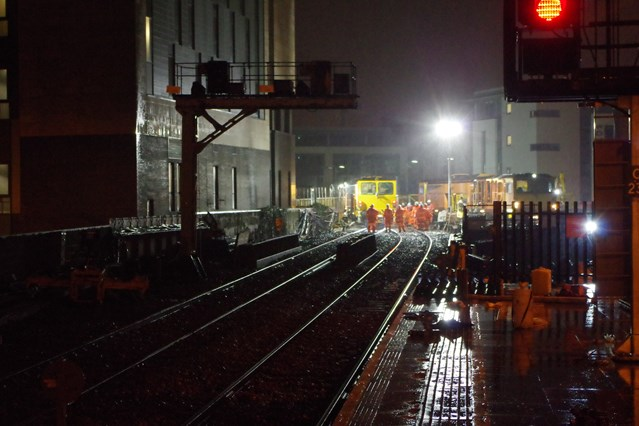 Welsh passengers thanked following festive railway upgrade: Christmas works at Cardiff Central station-tamping machine working at the east end of platform 1