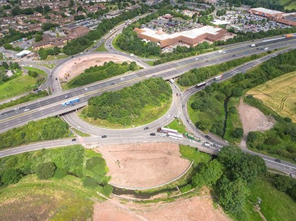Siemens Mobility Limited to supply signals for M5 junction improvement programme: M5 J25 01 07-19 Dronephoto-resized