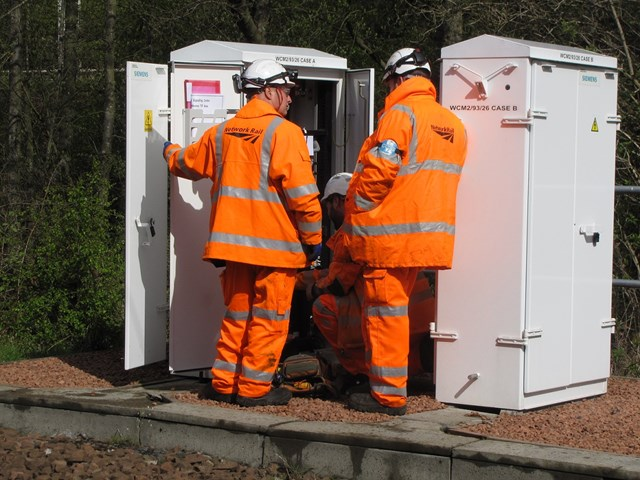 Commissioning work for Aberdeen-Stonehaven railway upgrade: Commissioning Signalling cabinet as part of Motherwell North Signalling Renewal