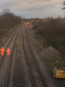 Track upgrade work in Rhyl