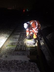 Lewes working on site: Network Rail apprentice Lewes Burton-Bell working on site for the Thameslink Programme