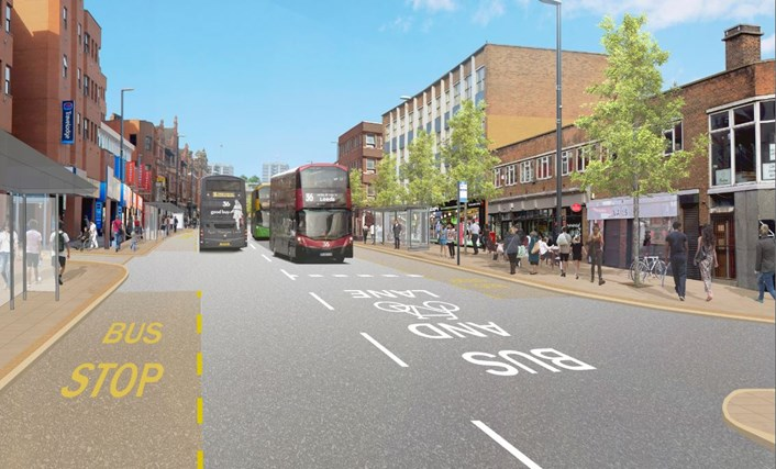 Vicar Lane to open to buses travelling both ways for first time in over 50 years, improving journeys and traffic circulation in Leeds city centre.: Vicar Lane