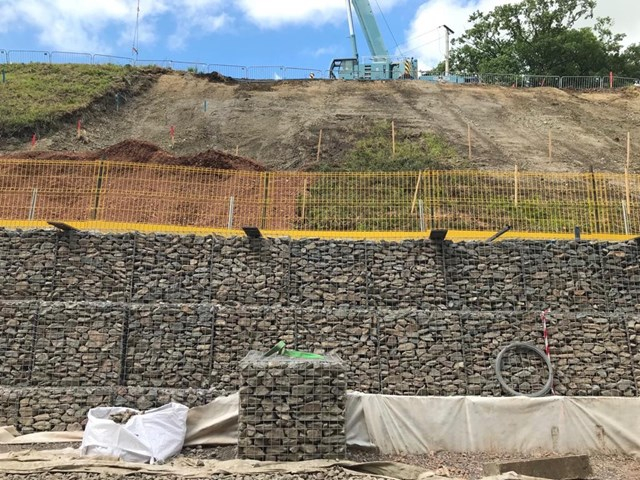 Templecombe gabion wall: Gabion wall, supporting the cutting slope near Templecomb
