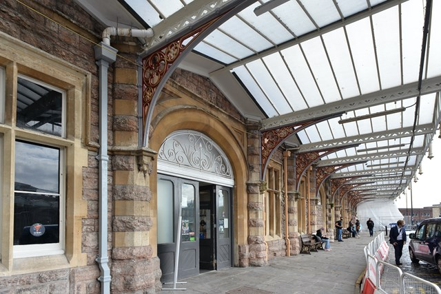 Wide view of forecourt canopies at main entrance of Bristol Temple Meads