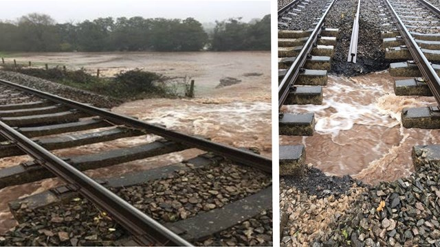 Railway network update following weekend of extreme weather on the Wales and Borders route: Flood damage to railway at Pontrilas