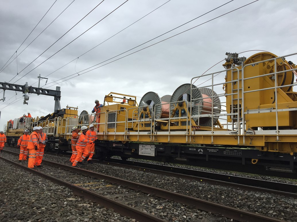 Benefits of electrification a step closer for passengers as railway re-opens between Bristol Parkway and Swindon following upgrade work: brinkworth wiring 3