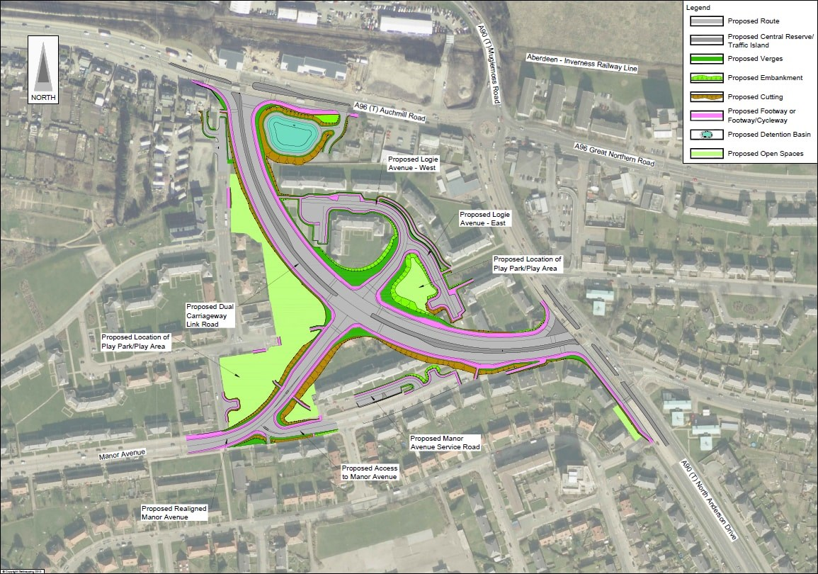 Updated design for Haudagain Improvement scheme incorporating new road