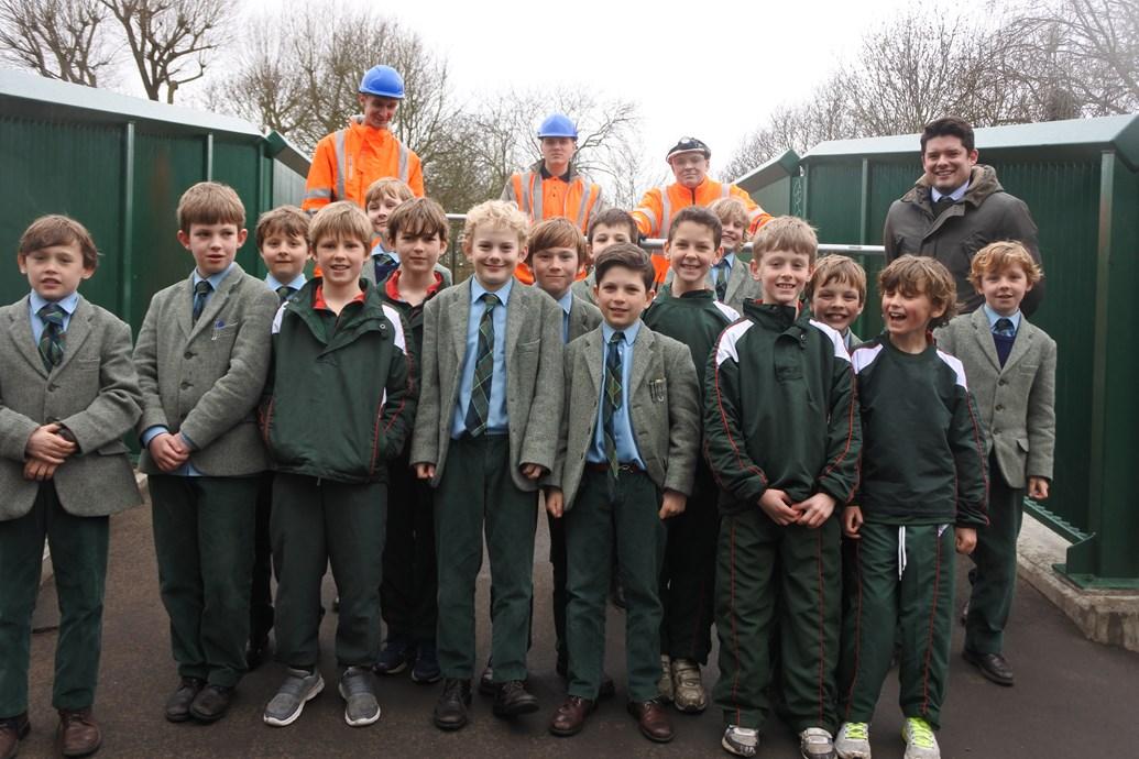 New and improved railway bridge opens in Wandsworth Common: Northcote Lodge schoolchildren at Cat's Back Bridge-2