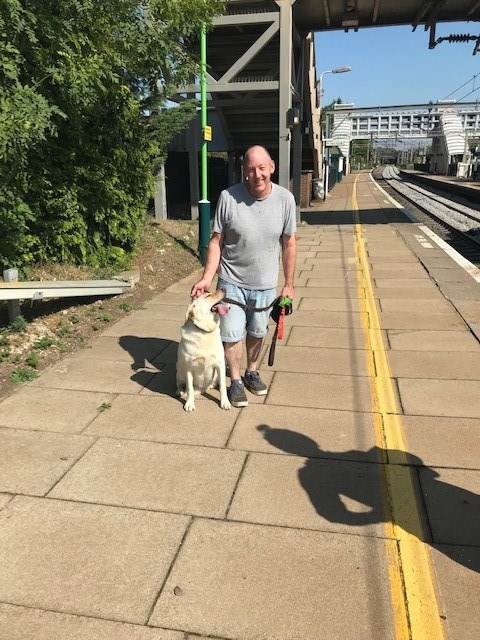 Asha the dog with owner David James