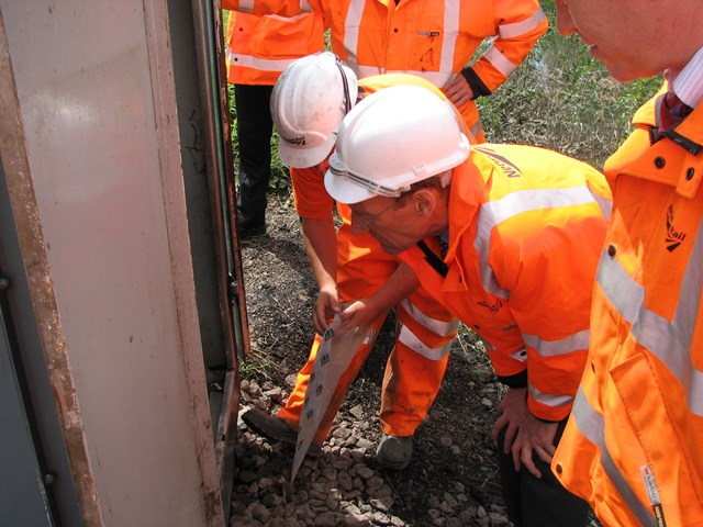 John Armitt at Mexborough: Netowork Rail Chief Executive John Armitt sees the works being done to restore rail services at Mexborough on 2 July 2007