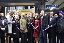 Becky Lumlock, route managing director at Network Rail, officially opens the new footbridge at Whitton station alongside Dr Tania Mathias MP and representatives from Richmond Borough Council, the RFU and South West Trains