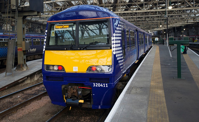 Rail journey planning information now includes busiest trains: Latest c320 refurbished train added to the ScotRail fleet on platform at Glasgow Central Station