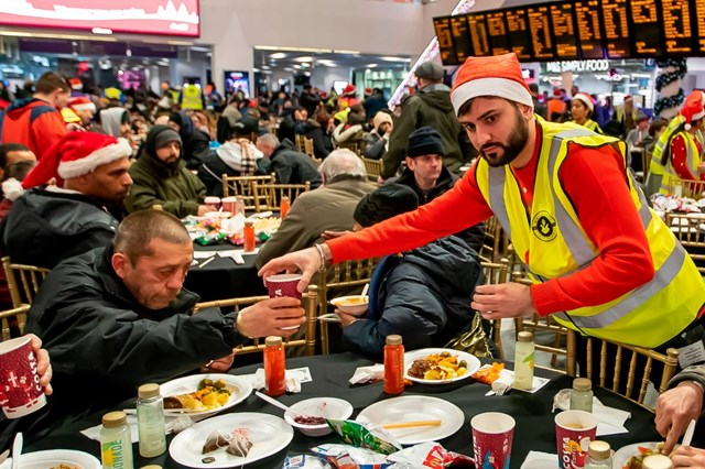 Birmingham Christmas Eve Meal 2019 - food being served on the concourse