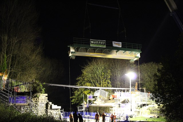 New bridge over canal in Burnley: Burnley canal bridge night 2-2