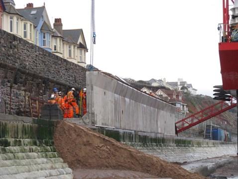 Raising the sea wall to protect the railway at Dawlish