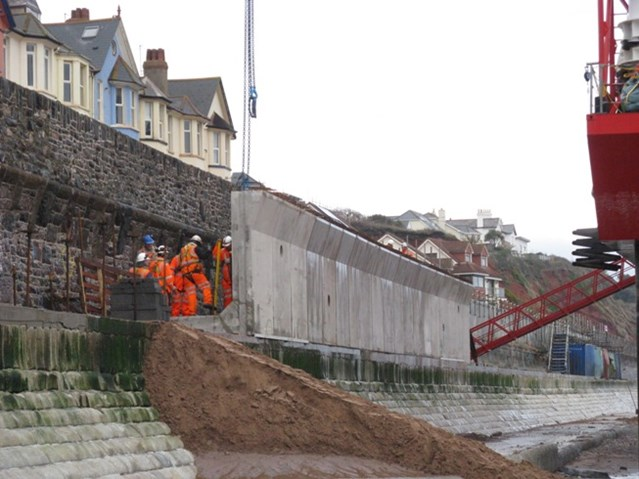 Network Rail's Western route reveals five year £multi-billion plan to improve the railway and increase services in the South West: Raising the sea wall to protect the railway at Dawlish