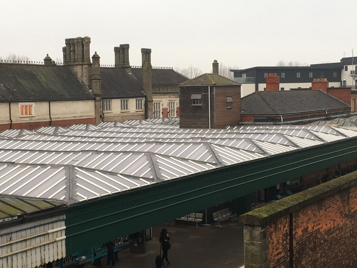 Shrewsbury Station upgrade-Platform 4-2: The first phase of work to upgrade Shrewsbury Station was completed in late 2016 and involved renewing the large canopy roof over platforms 3, 4 and 7.