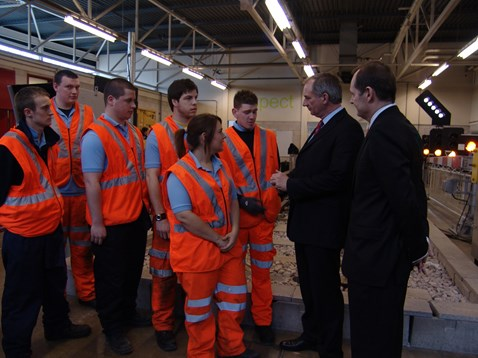 Transport Secretary Geoff Hoon Network Rail chief executive Iain Coucher visit  Network Rail's apprentice training centre, Gosport 002