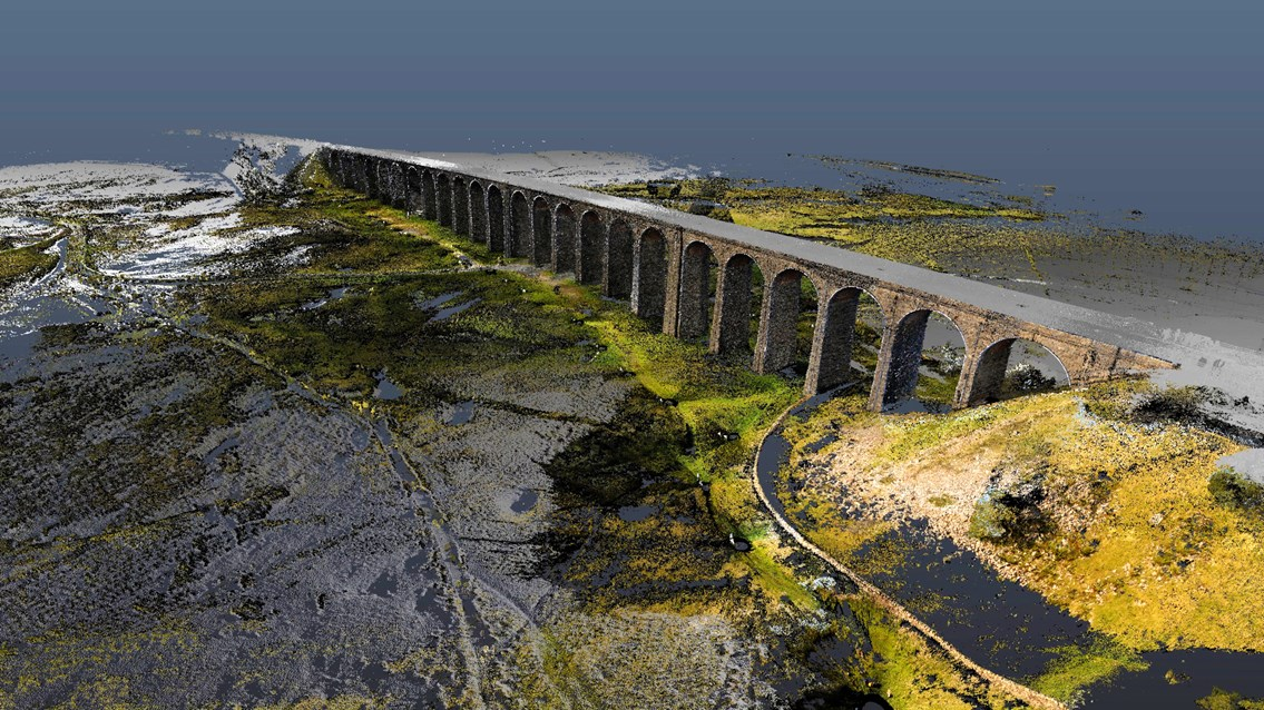 Laser and drone technology recreates Ribblehead viaduct like never before: Ribblehead CGI image still