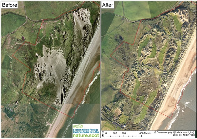 Dunes at Menie golf course may lose protected status: Foveran Links - Before and After aerial view inc SSSI