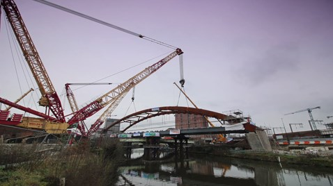 Years of hard work in less than 30 seconds – incredible time-lapse video illustrates remarkable feat at Ordsall Chord: Ordsall Chord arch time lapse still