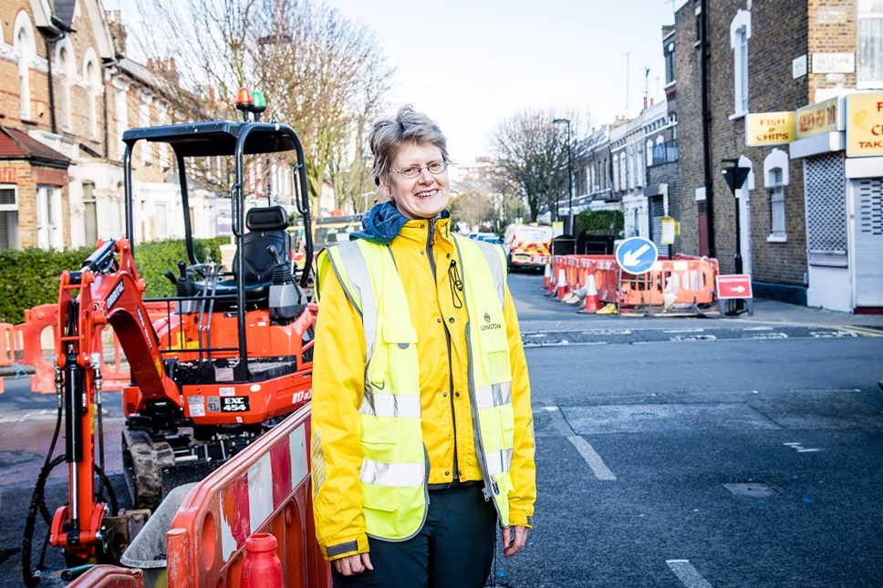 Cllr Rowena Champion, pictured in March 2020 as work began on the northern section of Cycleway 38