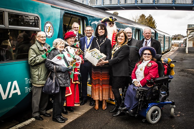 Morris Dancers, Poets, Musicians and the World's tallest town crier join forces to celebrate 150 years of the Heart of Wales Line: HeartOfWalesLine150thAnniversary2018.03.23-91