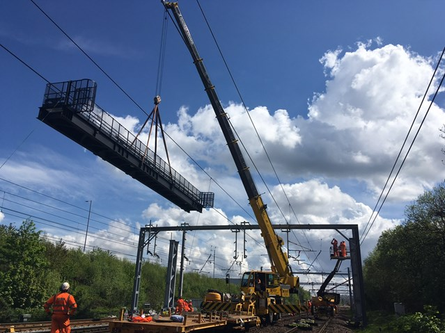 August works signal change for Scotland's railway: 13 May Craning in new signal gantry 3